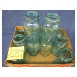 12 Blue/Green Ball Quart Jars