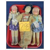3 Vintage Handmade Cloth Dolls (Poland)