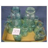 13 Blue/Green Ball Quart Jars