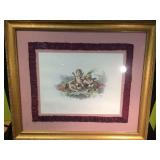 LARGE, FRAMED & MATTED THREE CHERUBS PICTURE