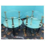 HOLLYWOOD REGENCY GLASS & MIRROR SIDE TABLES