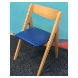 DANISH STYLE CHILDRENS FOLDING CHAIR W/ BLUE SEAT