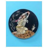 GEISHA GIRL MOTHER OF PEARL LACQUER PLAQUE