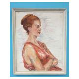 SIGNED OIL ON BOARD WOMAN PORTRAIT SIGNED HANNA