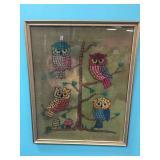 FRAMED OWL YARN ART ON BURLAP
