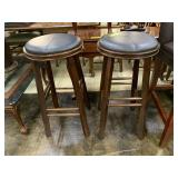 2 Bar Stools with Leather Top, One has a crack