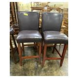 2 Leather-Like Bar Stool Height Chairs