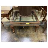 Claw Foot Coffee Table with Heavy Glass Top,