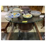Oval Wood Base Glass Top Coffee Table