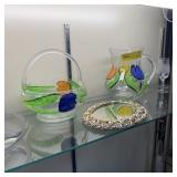 Decorative Glassware, Divided Tray, Pitcher and