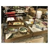 Household Lot, 2 Suit Cases, Wine and Cheese set