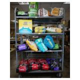 Rack of Cat Food and Litter, 16 bags, some are
