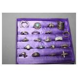 20 Sterling Silver Rings display not included