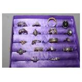18 Sterling Silver Rings display not included