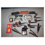 Vtg Pipes, Glasses & Razors lot