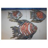 3 Metal Art Fish Candle Holders