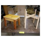 Small Wood Stool and Plant Stand