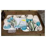 Floral Shower Curtain, Bath Mat, and Seat Cover
