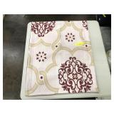 White and Red Patterned Blanket and 2 Shams