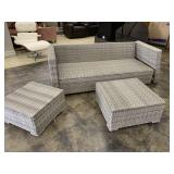 All Weather Wicker sofa and two tables