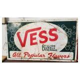 Large embossed Vess beverages advertising sign