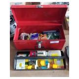 Tool box with new electrical items light bulbs