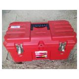 Plastic tool box with new parts and other