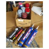 Miscellaneous garage chemicals paints and more