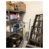 Shelf w/ signs, tags, magnetic sweep,  brooms, etc