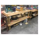4 wooden tables and bench grinder