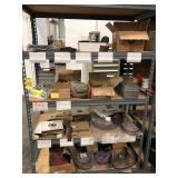 Shelf w/ abrasives: sanding papers, bits