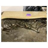 MARBLE TOP & WROUGHT IRON ENTRY WAY TABLE