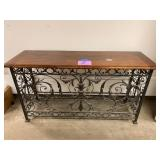 WOOD & WROUGHT IRON ENTRY CONSOLE TABLE