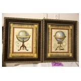LOT OF 2 FRAMED GLOBE PICTURES