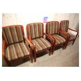LOT OF 4 SHELBY WILLIAMS STRIPED ARM CHAIRS