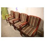 LOT OF 4 SHELBY WILLIAMS STRIPED ARMS CHAIRS