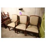 LOT OF 3 FAIRFIELD BEIGE W/ WOOD ARMS CHAIRS