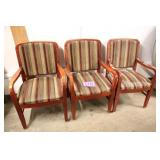 LOT OF 3 SHELBY WILLIAMS STRIPED ARM CHAIRS