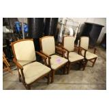 LOT OF 4 BEIGE PRINT ARM CHAIRS BY FAIRFIELD