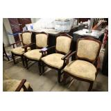 LOT OF 4 BEIGE FLORAL PRINT ARM CHAIRS