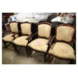 LOT OF 4 BEIGE FLROAL PRINT ARM CHAIRS