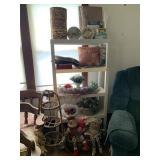 plastic shelf & contents incl. tins, cork board,