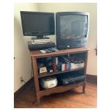tv console, 2 tvs, stereo, 2 VCRs,  VHS, clock