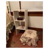 white shelf, foot stool, clock, white 3 drawer