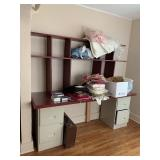 (2) 2 drawer metal file cabinets with desk top &