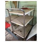 vintage enamel kitchen cart, step stool, basket,