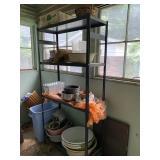shelf & contents incl. enamelware, flower pots,