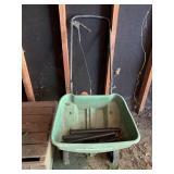 fertilizer cart, yard tools, rubber boots, step