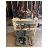 shelf & contents incl. hand tools, binoculars,