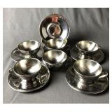 Inox Stainless Steel Espresso Cups & Saucers